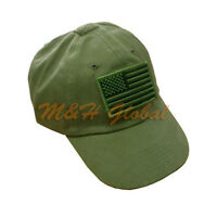 Tactical Special Force Shooters Cap Hat With Us American Flag - Od Green