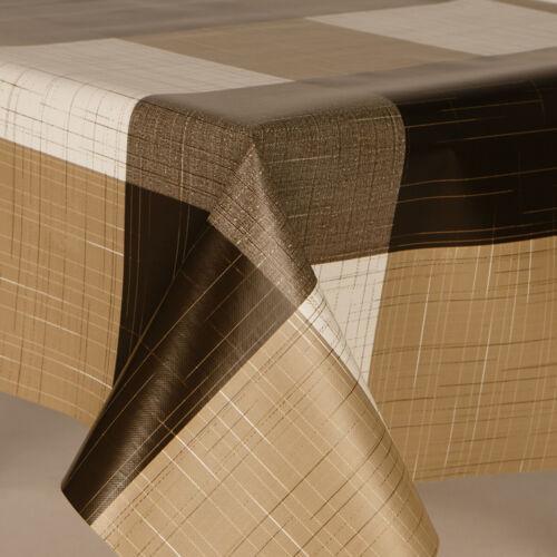 en plastique PVC huile Vinyle TABLE CLOTH Luxe ferme carreaux beige marron crème