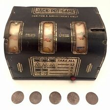 Vintage 1940's Tin Jack Pot Game Mini Slot Machine Buffalo Original Tokens Toy