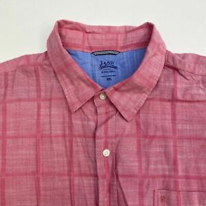 Izod-Button-Up-Shirt-Men-039-s-Size-2XL-Short-Sleeve-Red-Plaid-Casual-100-Cotton