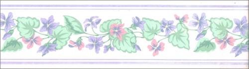 Pastel Color Blue Pink Geranium Flower Floral Garland Ivy Vine Wall paper Border