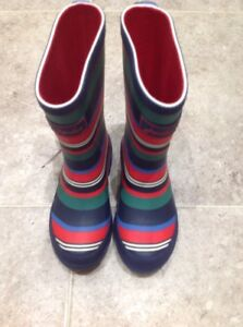 Joules-Kids-Printed-Wellie-Boots-Multi-Stripe-Child-039-s-UK-10-BNWT