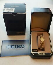 SEIKO Ladies Gold Tone Dress Bracelet Watch needs Battery 1N00-6R80 with case