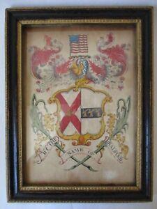 antique 1800's Bradford family CREST 15 star 15 stripe American Flag colonial MA
