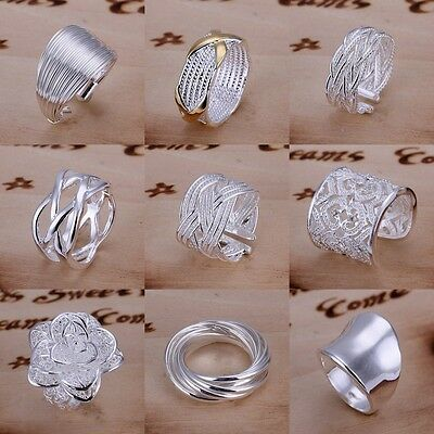 Wholesale Personality Silver Plated Mark Women Unique Ring Band Jewelry 10 Style