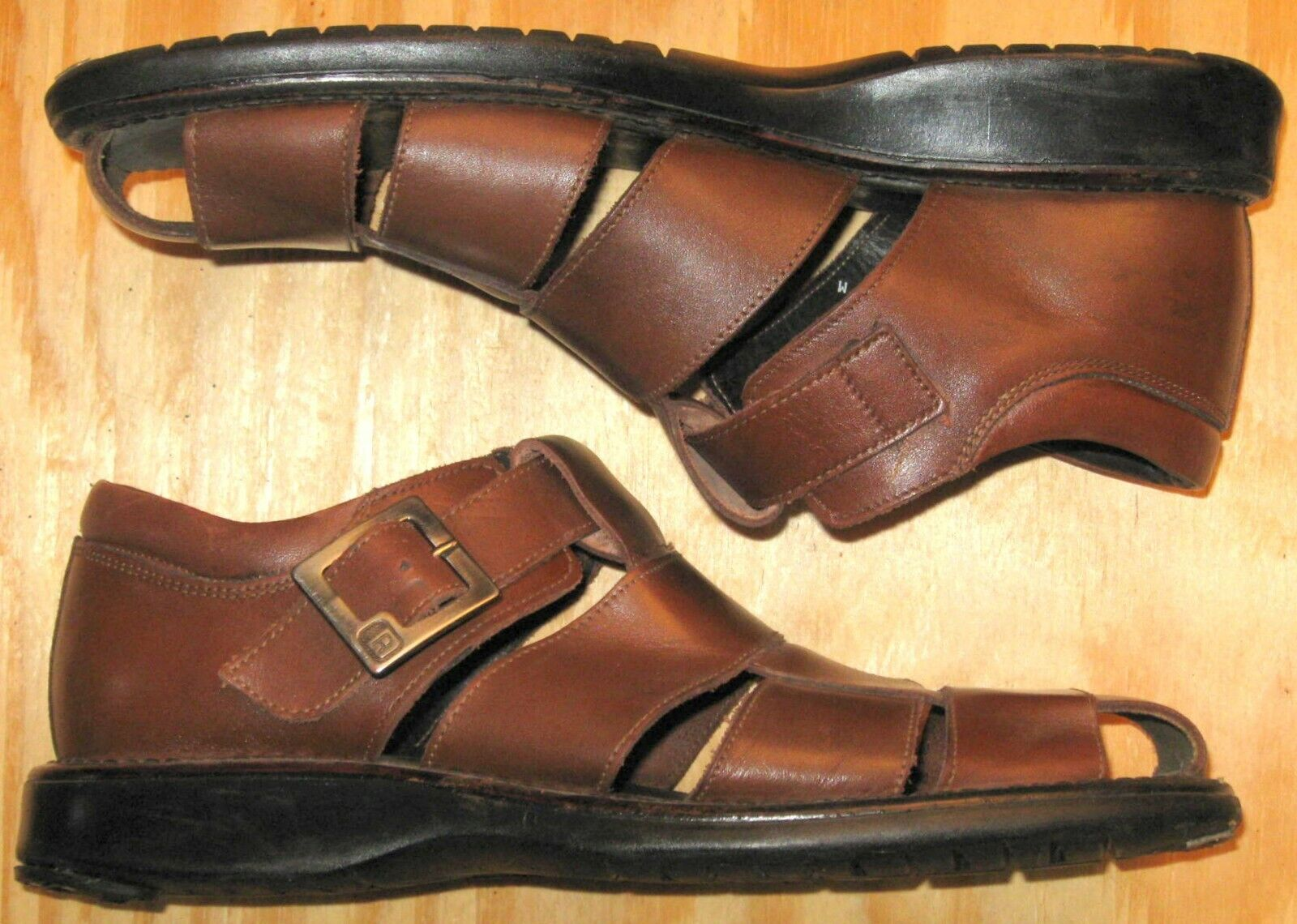 Size 11 Kenneth Cole Reaction Sandals Fisherman Leather Brown Mens Sienna