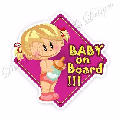Baby on Board Full Color Adhesive Vinyl Sticker Window Car Bumper 012