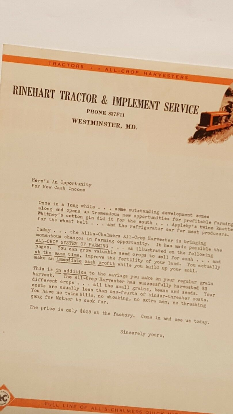 AC Rinehart tractor tractor tractor and Implement service brochure 197e52