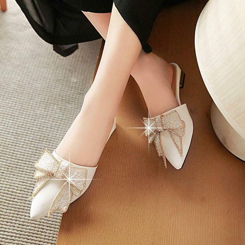 Sweet Womens Low Heel Sequins Pointy Toe Bowknot Sandals shoes Mules Slippers