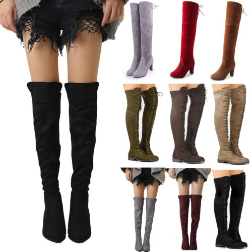 Womens Over The Knee Thigh High Ladies Boots Stretch Flat Heel Calf Leg Shoes