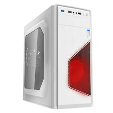 CIT Accensione Rosso Bianco 16 LED PC GAMING ATX Tower Case USB BLACK MESH Interior