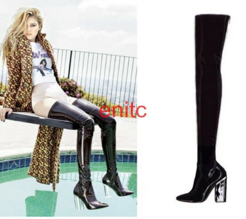 Womens Patent Leather Clear Block Heels Over Knee Thigh Long Boots Street Shoes