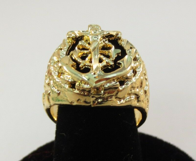 TAILLE 8-13 HOMMES 14KT GOLD EP NUGGET ANCRAGE RELIGIEUX MARINER CRUCIFIX Bague Cross