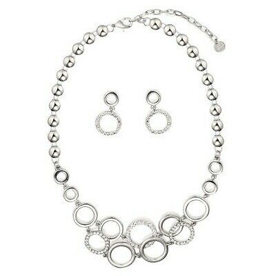 Jewelry & Watches Silver Diamante Circles Necklace And Earring Set