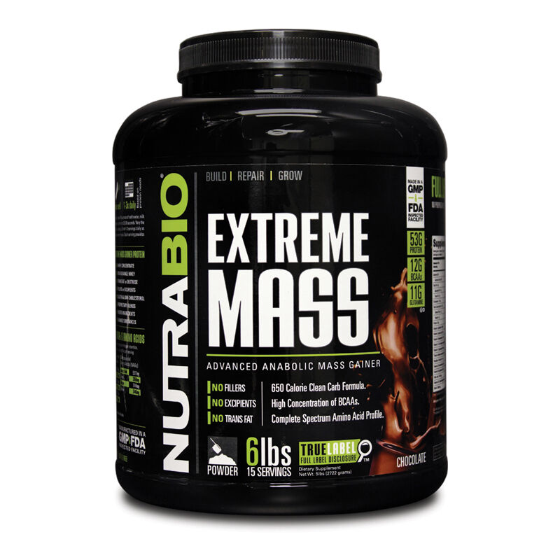NUTRABIO - EXTREME MASS 6Lbs - 3 and Flavors - Build, Repair and 3 Grow your Muscles 800000