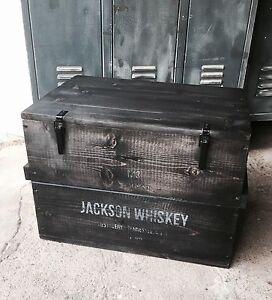 Holzkiste-Whisky-Box-Truhe-Couchtisch-Frachtkiste-Vintage-Retro-Hocker