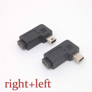 Mini-USB-Type-A-Female-to-Micro-USB-B-Male-90-Degree-right-left-Angle-Adapter-xn