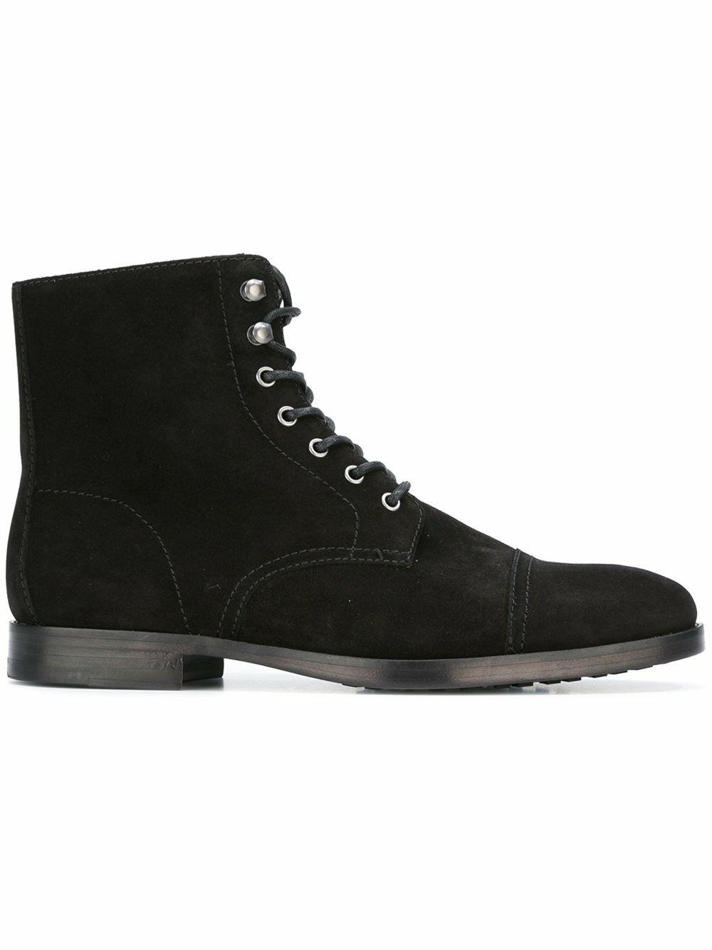 botas para hombre hecho a mano Negro Gamuza Tobillo Con Cordones Nuevos Zapatos Casuales De Vestir Ropa Formal