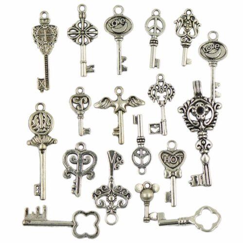 Vintage Schlüssel Silber Mix Basteln Charm Steampunk Gothic Schmuck Anhänger