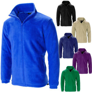 Mens-Full-Zip-Anti-Pill-Polar-Fleece-Jacket-Winter-Casual-Work-Wear-Coat-Size