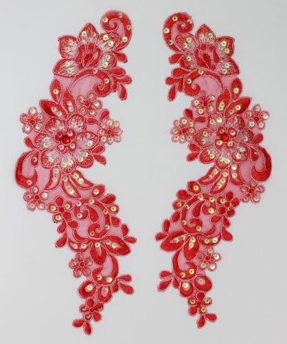 Extra Large Handmade Venise Lace Sequins Applique Trim Motif  M Red #12