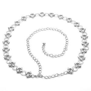 Plata Cinturones Mujer Chica Pedrería Diamante Fiesta Moda Ropa Accesorio