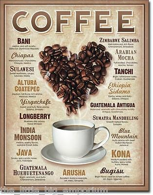Heart Coffee Lovers Metal Tin Sign - Beans Cappuccino Latte Cafe Decor