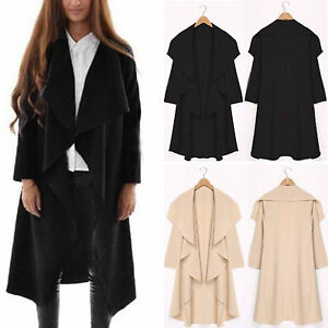 damen open cape winter mantel cardigan lang jacke. Black Bedroom Furniture Sets. Home Design Ideas