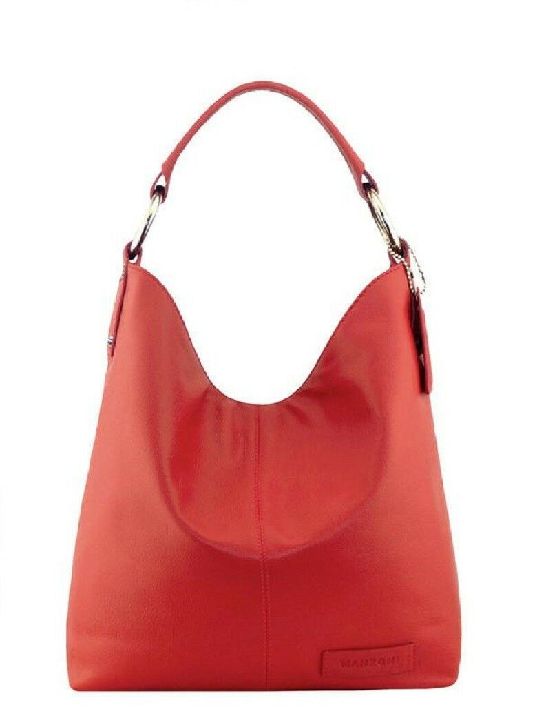 675e219ce674 MANZONI Red Leather Comfortably wide handle Shoulder Bag - N11 RRP ...