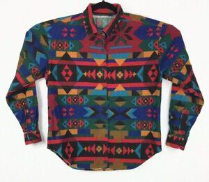 Vtg Button Up Southwest Aztec Shirt Bright Kvinder Stort Usa Woolrich Native IqrtI
