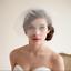 Wedding-headdress-Bridal-Feather-net-bow-Birdcage-Face-Veil-Fascinator-veils-cap thumbnail 3