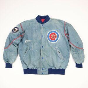 Destroyed-Vtg-80s-Chicago-Cubs-Starter-Bomber-Jacket-L-Sun-Faded-Paint-Distress