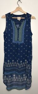 Knox-Rose-Womens-Blue-Sheer-Tunic-High-Lo-Sleeveless-Top-Blouse-Size-Medium