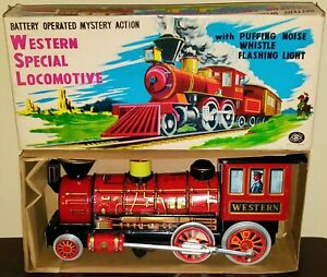 BATTERY OP WESTERN SPECIAL LOCOMOTIVE TIN TOY IN BOX 1960'S JAPAN WORKS GREAT