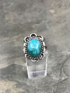 Sz-5-Vintage-Zuni-Sterling-Silver-W-Turquoise-Ring-Navajo-925