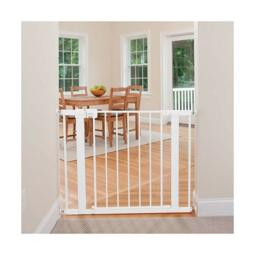 White Safety 1st Easy Install Metal Baby Gate with Pressure Mount Fastening