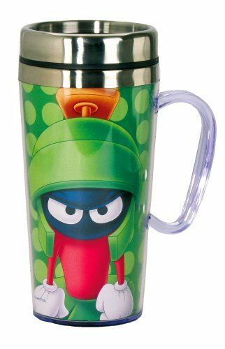 Looney Tunes Marvin The Martian Insulated Travel Mug Green New Gift