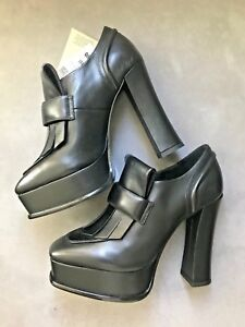 Brand-New-In-Box-Zara-Genuine-HIGH-HEEL-LEATHER-PLATFORM-LOAFERS-Size-6