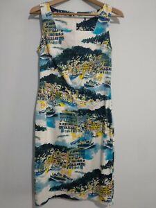 George-auf-Asda-Seaside-Drucken-Shift-Kleid-Groesse-10-Boote-Hafen-Haus-blau-gelb