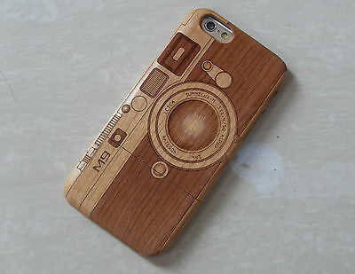 "For iPhone 6 4.7"" Genuine Real Natural Wood Wooden Bamboo Case Cover Camera M9!"
