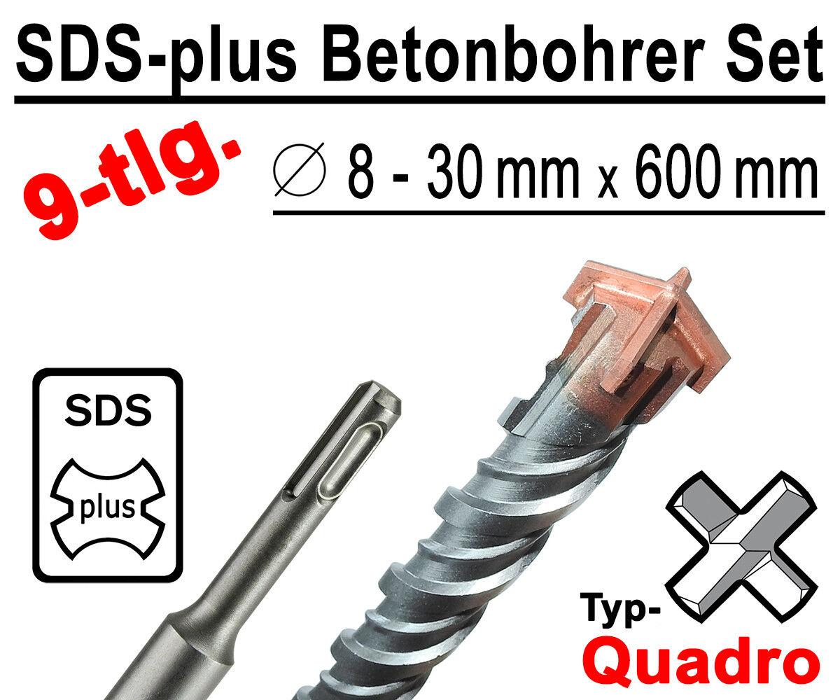 SDS-plus Betonbohrer Set 9-tlg Quadro Bohrer Hammerbohrer 8mm - 30mm x 600mm