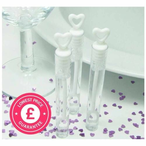 1//24//48//72//96 Wedding Wand Heart Bubbles Tube Clear Table Decoration Accessory
