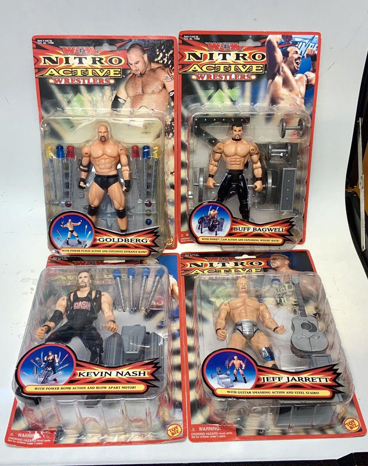 WCW Nitro Active Toy Biz Marvel Buff Bagwell goldberg Kevin Nash Jeff Jarrett