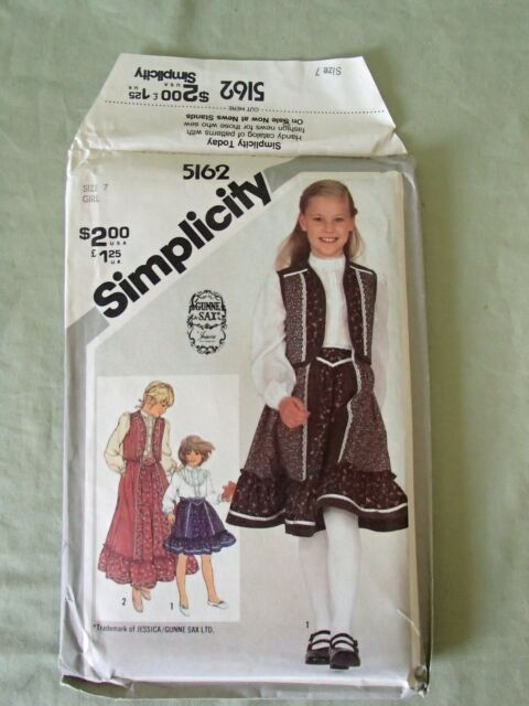 Uncut 60 Simplicity Pattern Girls Size 60 Skirt Blouse Quilted Vest Classy Simplicity Patterns