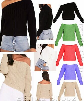 Womens Cropped Knitted Ladies Round Neck Ruffle Frill Hem Jumper Long Sleeve Top Offensichtlicher Effekt