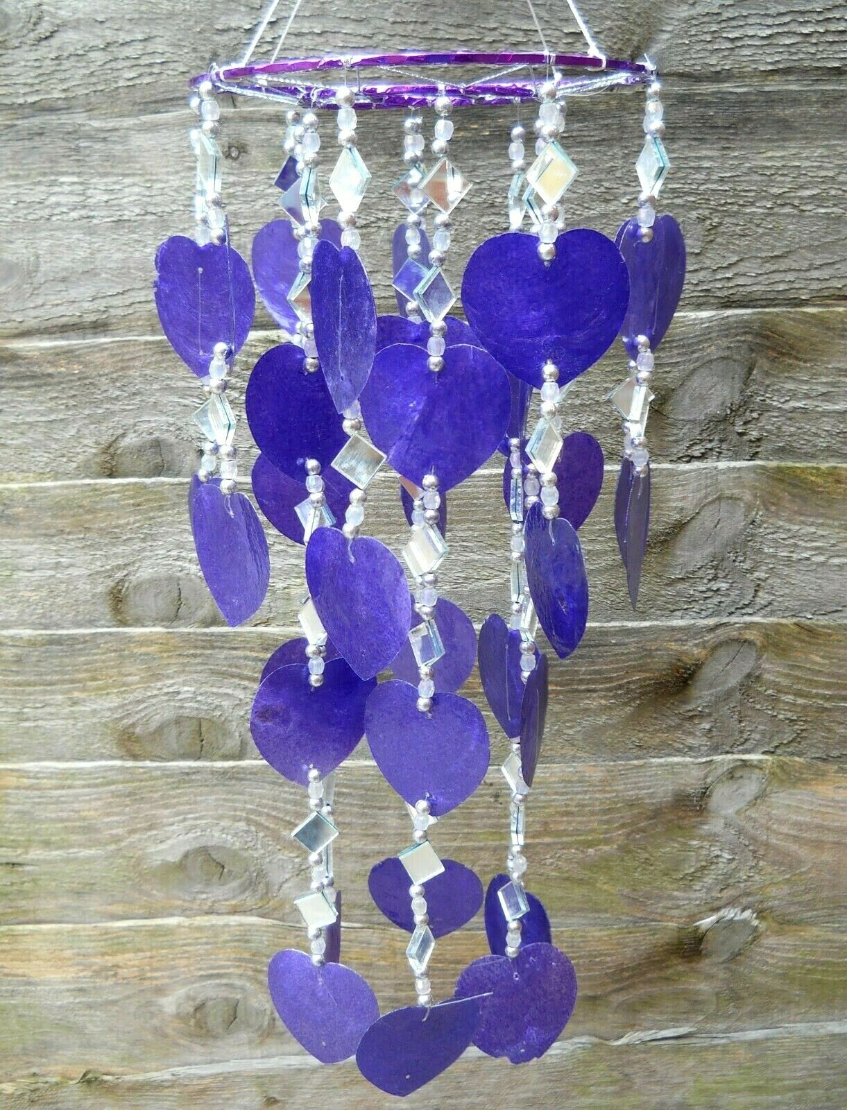 Windchime Handmade Capiz Shell Hearts Hanging Mobile 40 cm Different Colours