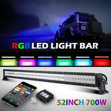 "52inch 700W RGB LED Light Bar SPOT FLOOD Offroad Halo Ring Flash Disco PK 50/54"""
