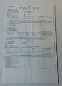 DAWSON'S CREEK set used CALL SHEET plus 10 pages of sides ~ Season 5, Episode 20
