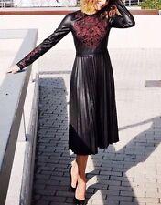 ZARA Woman Kunstleder Stickerei Kleid Faux Leather Embroidered Dress Neu Blogger