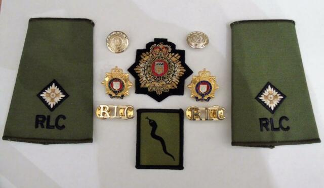 British Army Royal Logistic Corps Officers Beret/Collar Badges Rank Slides TRF